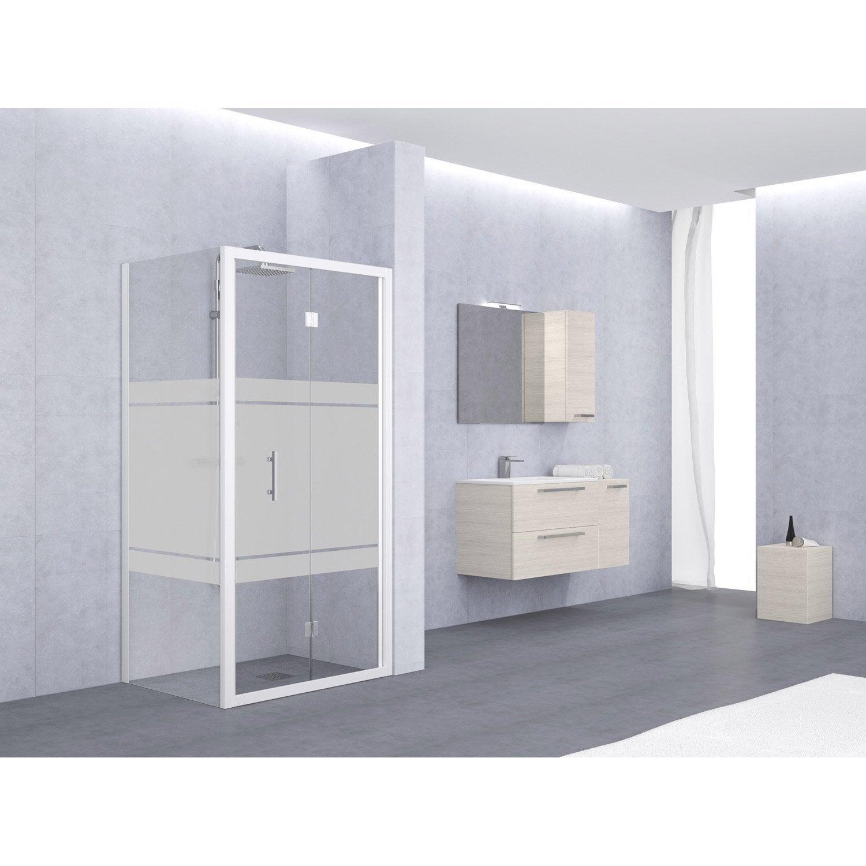 porte de douche pliante 84 90 cm profil blanc elyt leroy merlin. Black Bedroom Furniture Sets. Home Design Ideas
