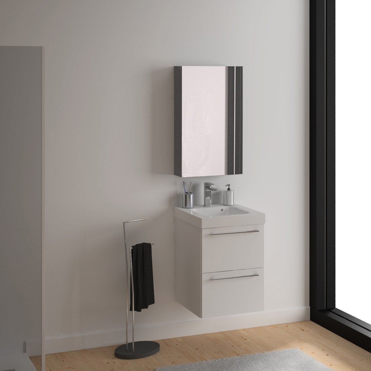 meuble vasque 46 cm blanc remix leroy merlin. Black Bedroom Furniture Sets. Home Design Ideas
