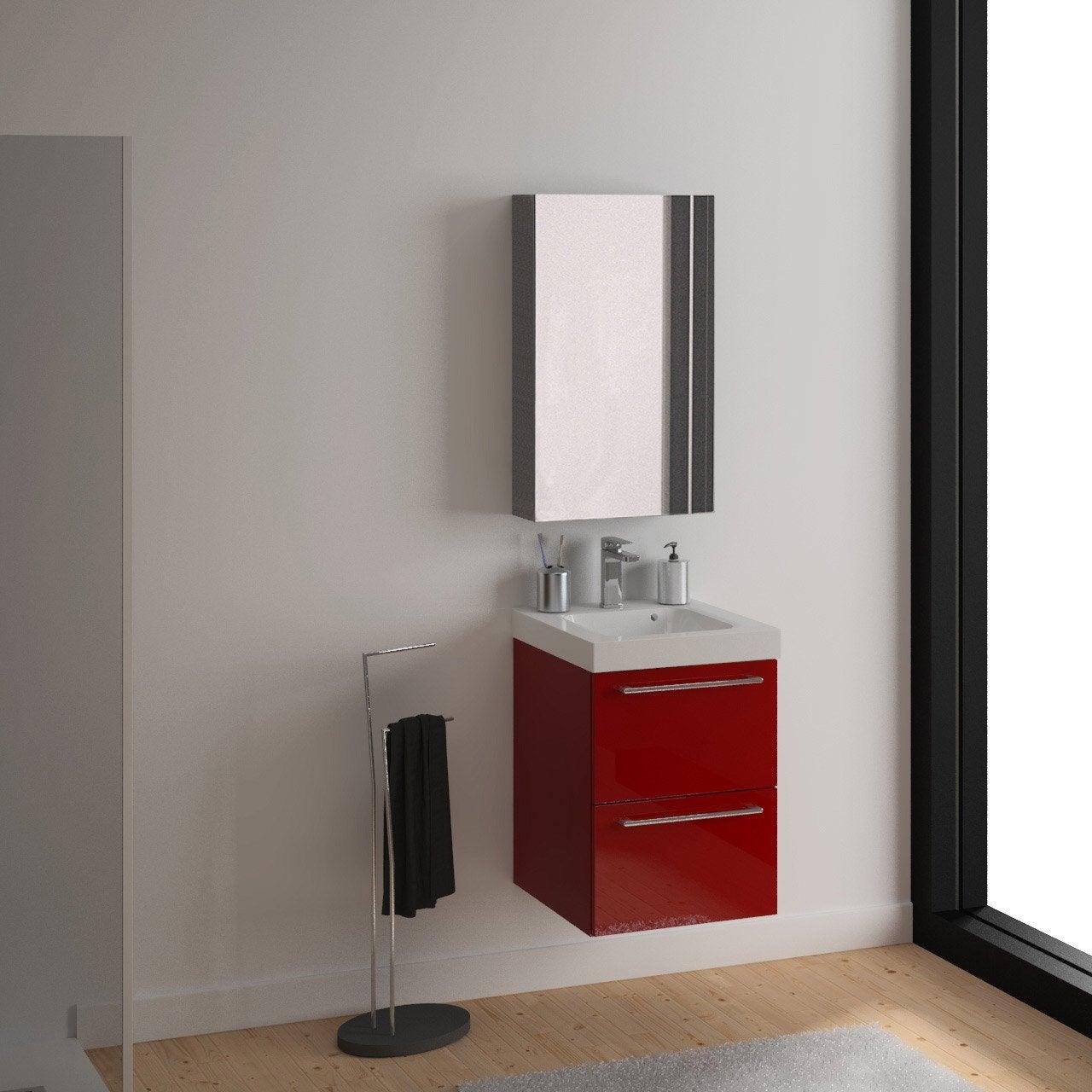 Meuble sous-vasque l.46 x H.57.7 x P.46 cm, rouge, SENSEA Remix ...
