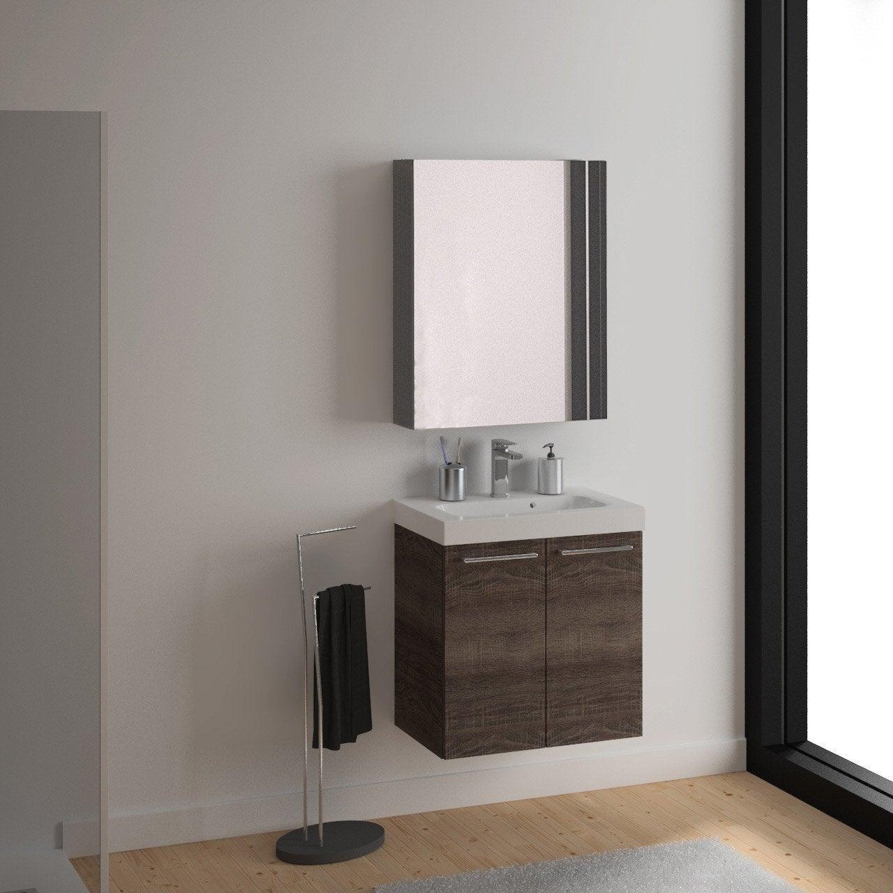 Meuble vasque 61 cm d cor ch ne havane remix leroy merlin for Colonne de salle de bain remix
