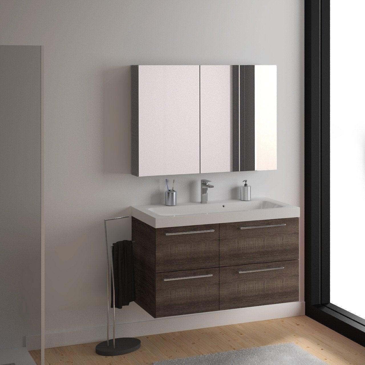 Meuble vasque x x cm imitation ch ne naturel sensea remix leroy merlin for Salle de bain tadelakt gris