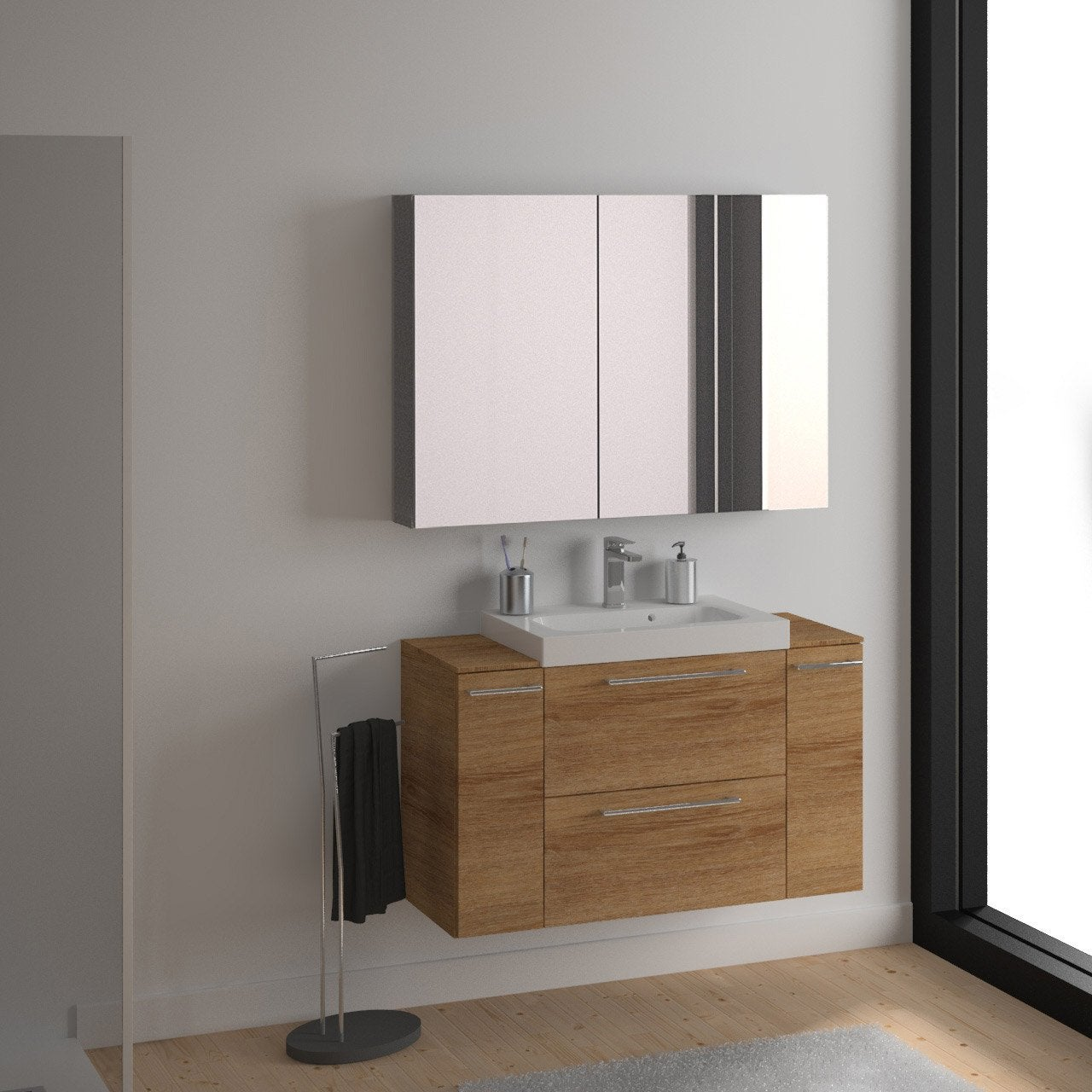 Meuble de salle de bains remix imitation ch ne 61x48 5 cm for Meuble salle de bain teck leroy merlin