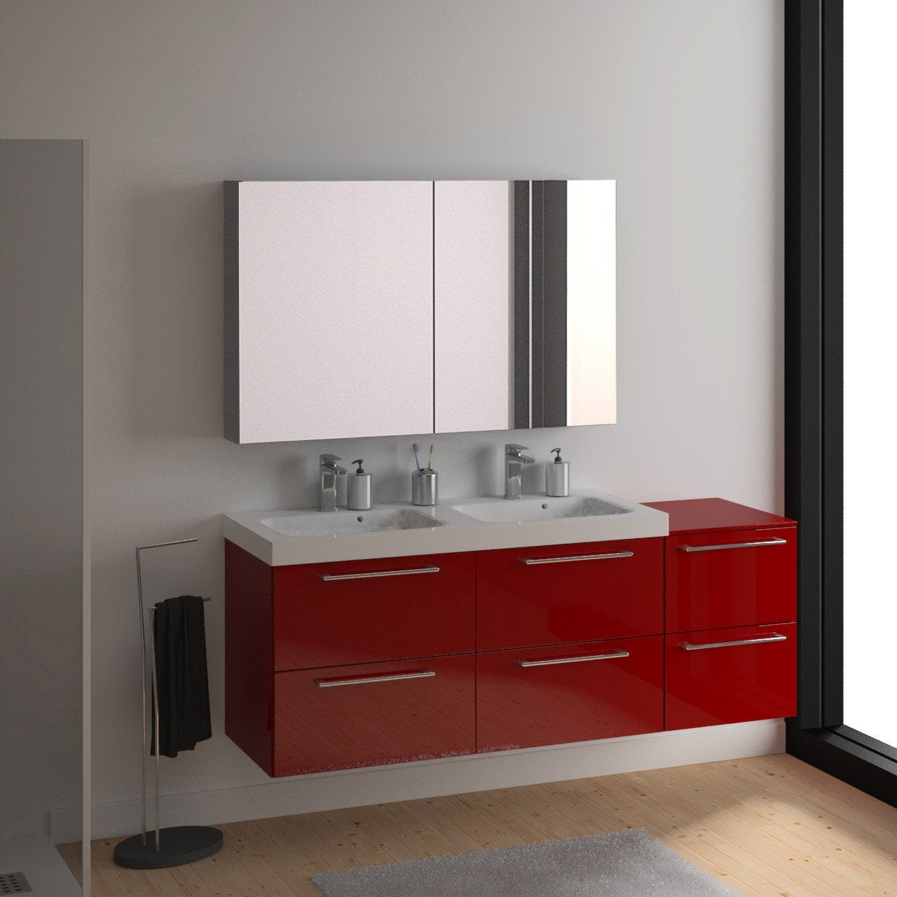 Meuble vasque 121 cm rouge remix leroy merlin for Meuble salle de bain double vasque leroy merlin