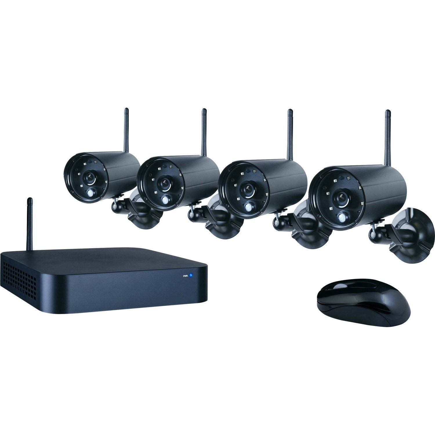 kit de vid osurveillance sans fil enregistreur 4 cam ras connect es smartwares leroy merlin. Black Bedroom Furniture Sets. Home Design Ideas