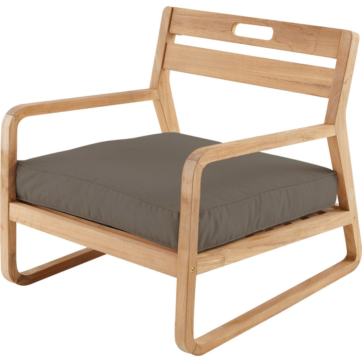Chaise basse de jardin en bois resort naturel leroy merlin for Chaise bercante en bois