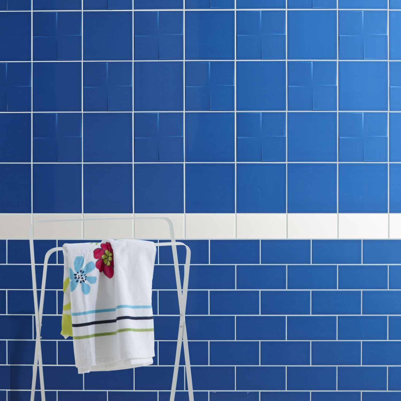 Fa ence mur bleu bleu astuce x cm leroy merlin for Faience salle de bain bleu et blanc