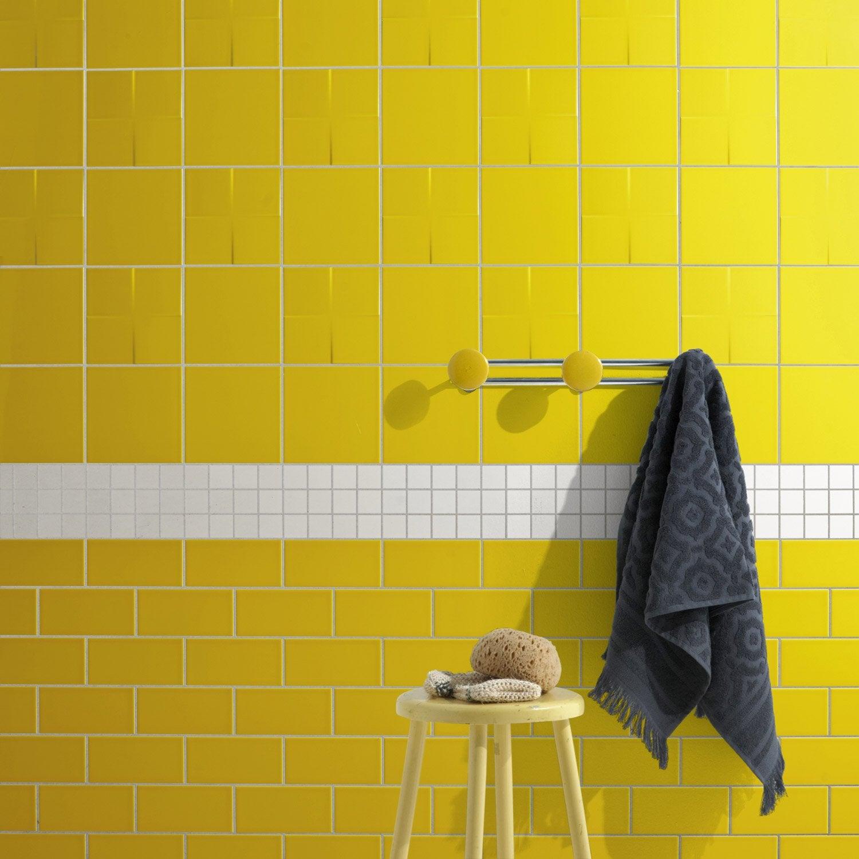 Carrelage mural astuce en fa ence jaune anis n 4 20 x 20 - Carrelage astuce leroy merlin ...