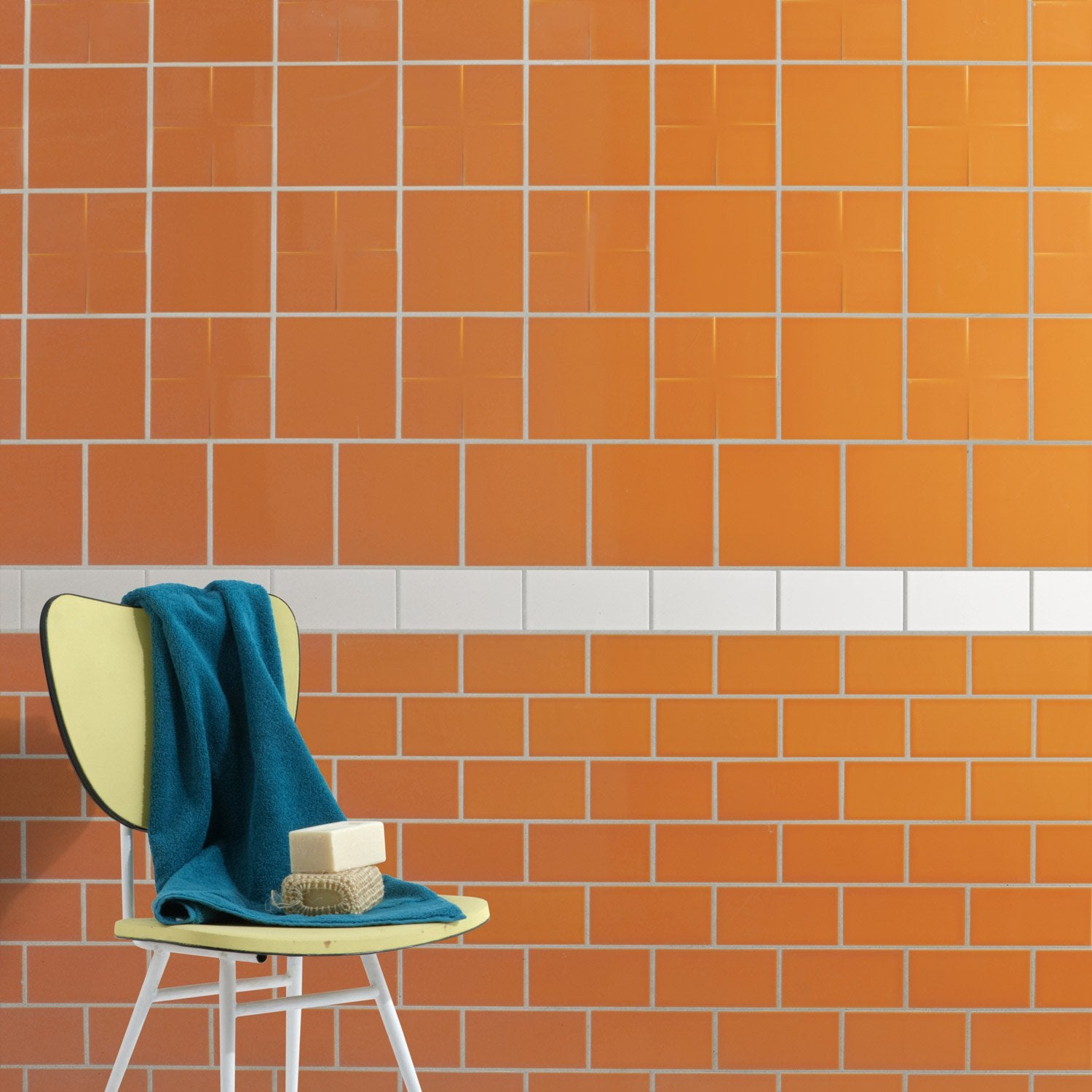 Fa ence mur orange tangine astuce x cm leroy Carrelage orange