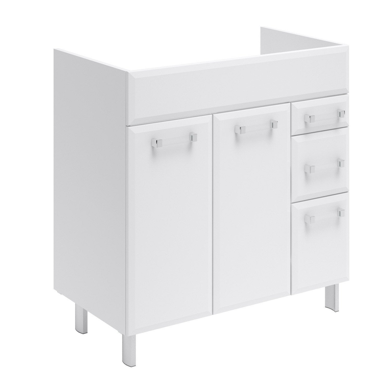 Meuble sous vasque x x cm blanc opale for Meubles leroy merlin