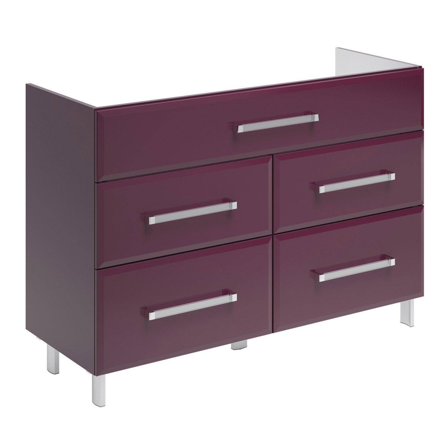 meuble sous vasque opale aubergine cm 5 tiroirs leroy merlin. Black Bedroom Furniture Sets. Home Design Ideas