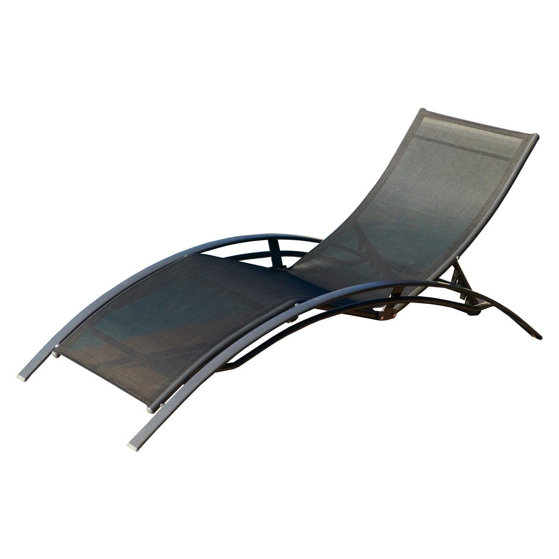 bain de soleil de jardin en aluminium noir leroy merlin. Black Bedroom Furniture Sets. Home Design Ideas