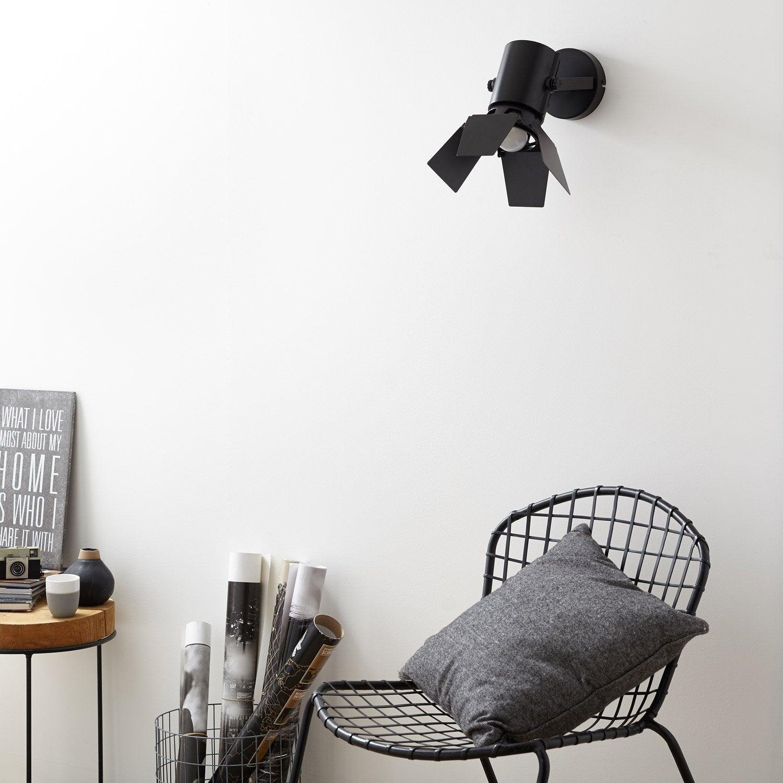 Applique Studio 1 x 75 W métal noir INSPIRE