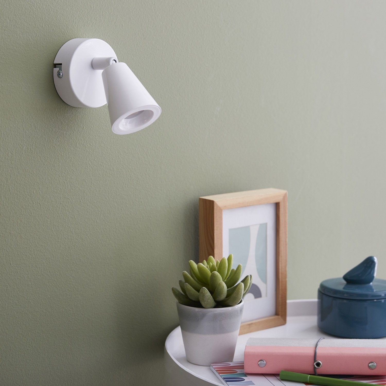 spot pat re elys 1 xled int gr e blanc inspire leroy merlin. Black Bedroom Furniture Sets. Home Design Ideas