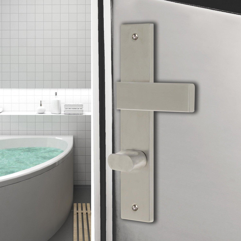 2 poign es de porte bercy condamnation d condamnation inox bross 195 mm leroy merlin. Black Bedroom Furniture Sets. Home Design Ideas