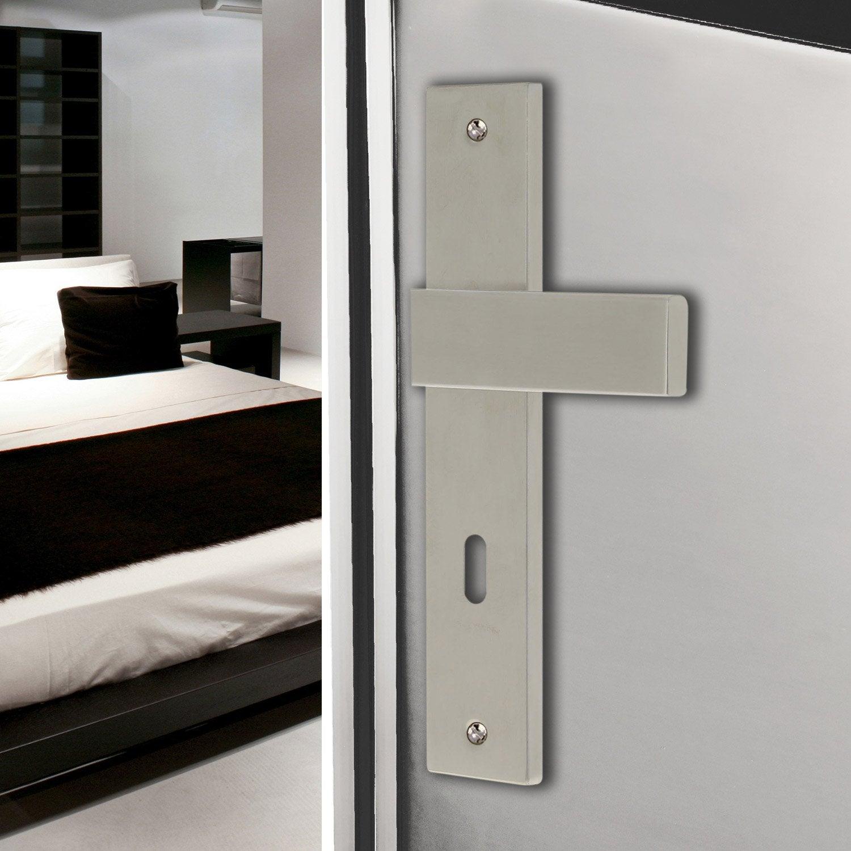 2 poign es de porte bercy trou de cl acier inoxydable 195 mm leroy merlin. Black Bedroom Furniture Sets. Home Design Ideas
