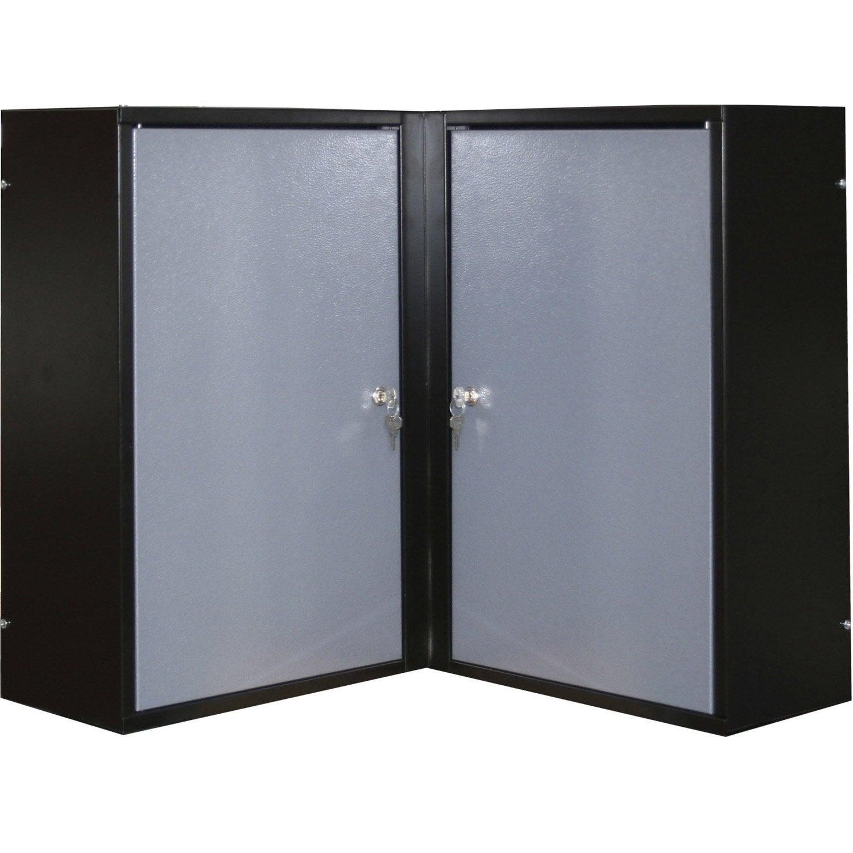 armoire de rangement pour angle en m tal gris clair kupper 60 cm 2 portes leroy merlin. Black Bedroom Furniture Sets. Home Design Ideas