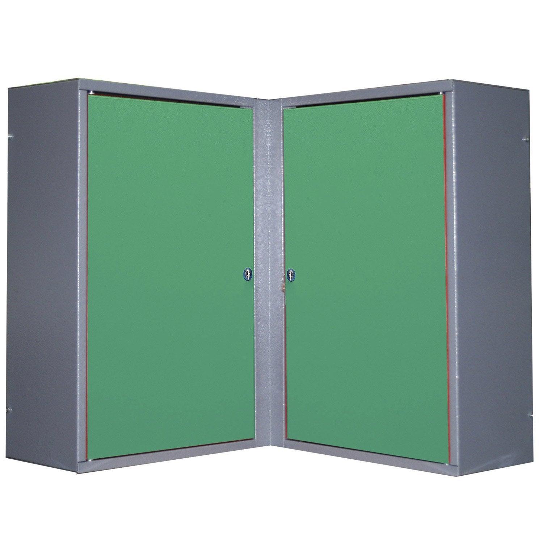 Armoire de rangement pour angle en m tal vert kupper 60 cm for Armoire de rangement exterieur leroy merlin