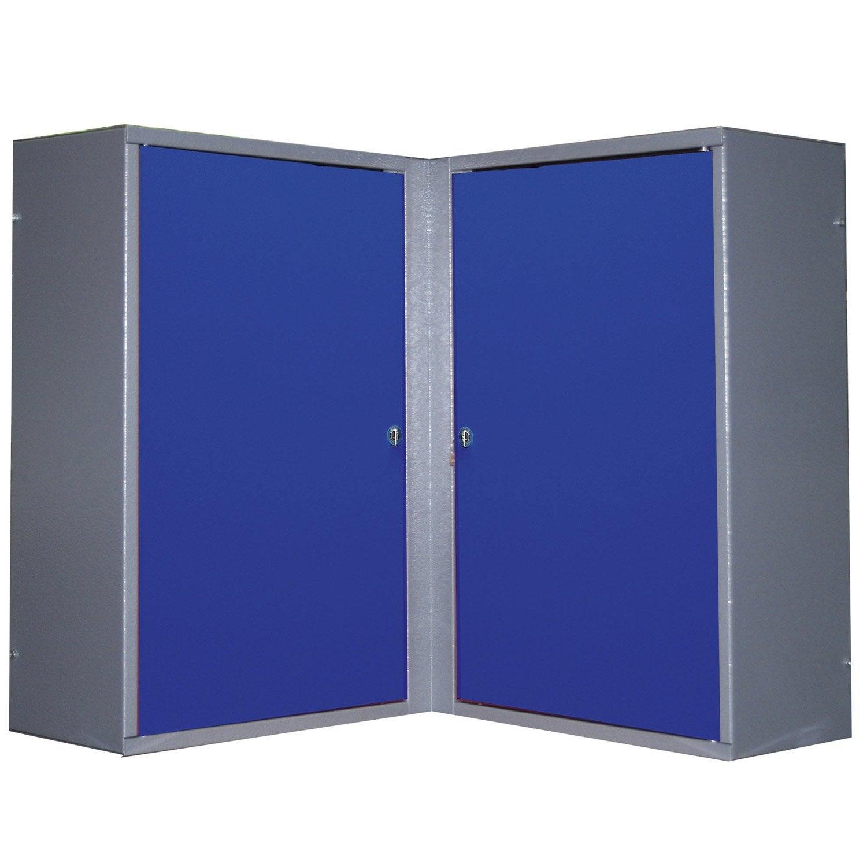 Armoire de rangement pour angle en m tal bleu kupper 60 cm for Porte metal 60