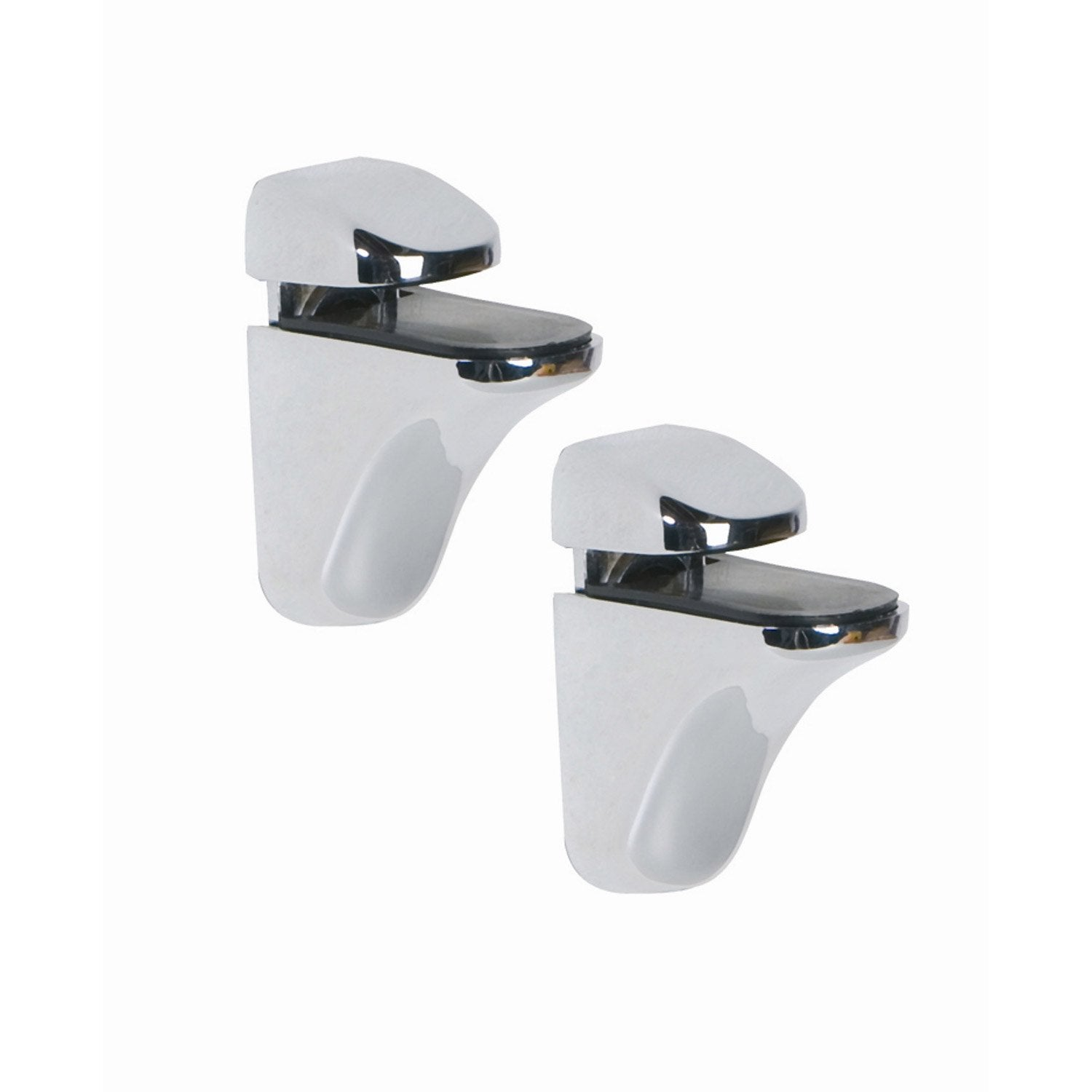 Lot de 2 supports tablette pince chrom brillant leroy for Fixation ventouse salle de bain