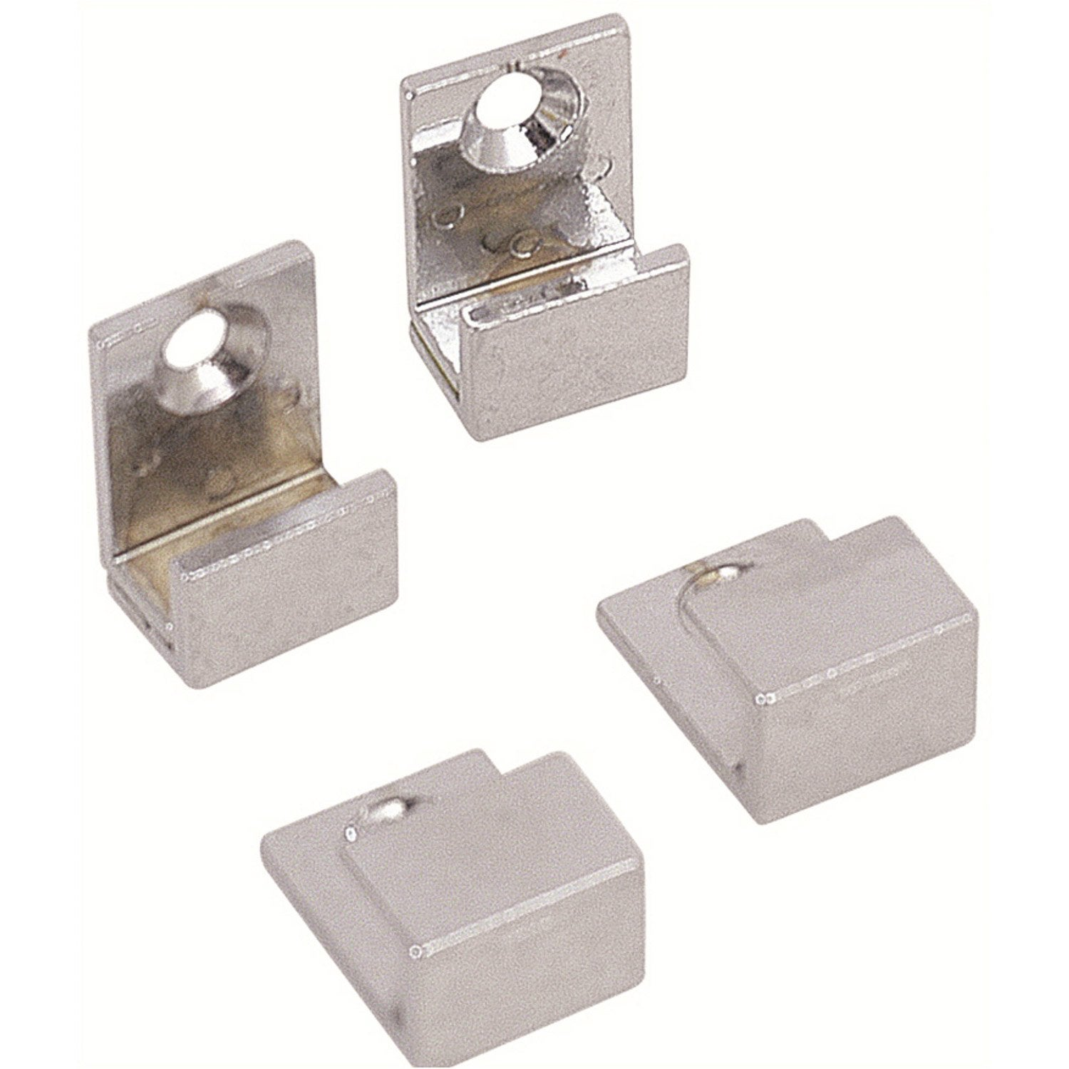 Lot de 4 pattes glace en u chrom brillant leroy merlin for Fixer un miroir sur une porte