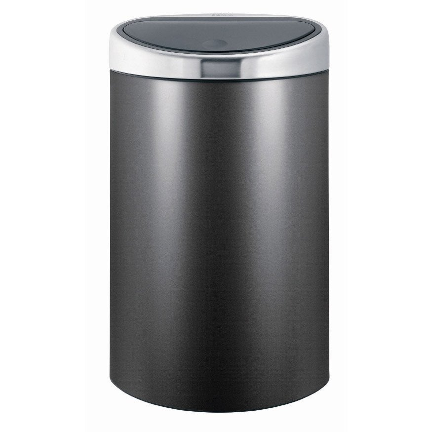 poubelle de cuisine manuelle brabantia m tal platinum 40. Black Bedroom Furniture Sets. Home Design Ideas