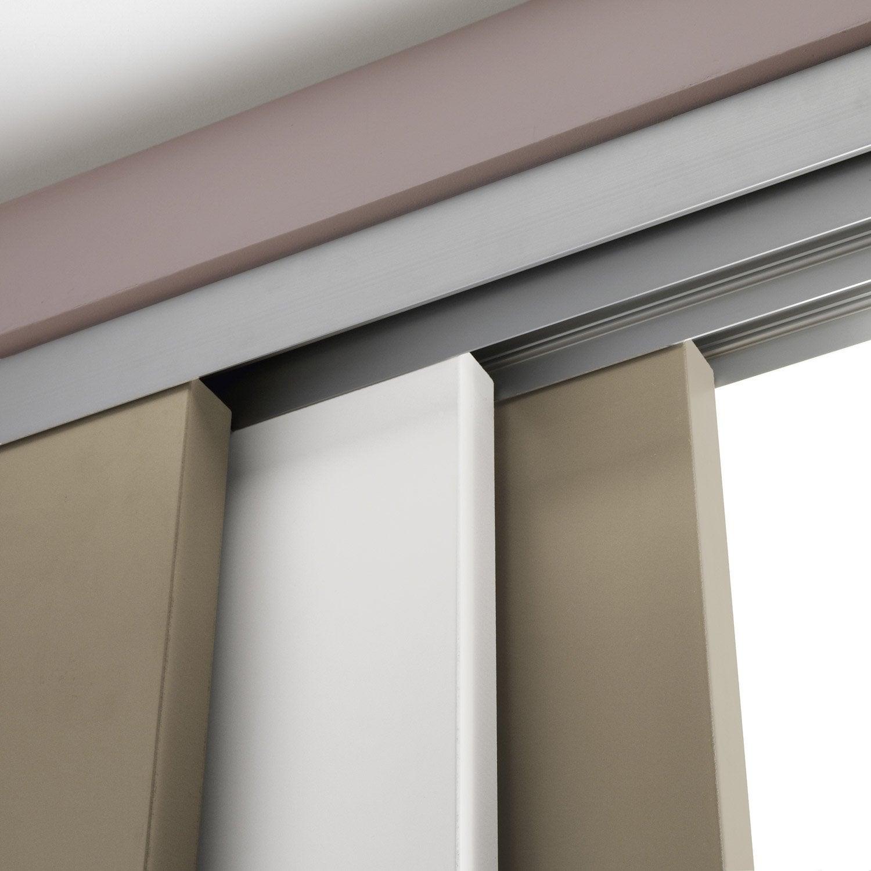 Rail coulissant et habillage aluminium slide artens pour 3 cloisons de 93 cm - Leroy merlin rail coulissant ...