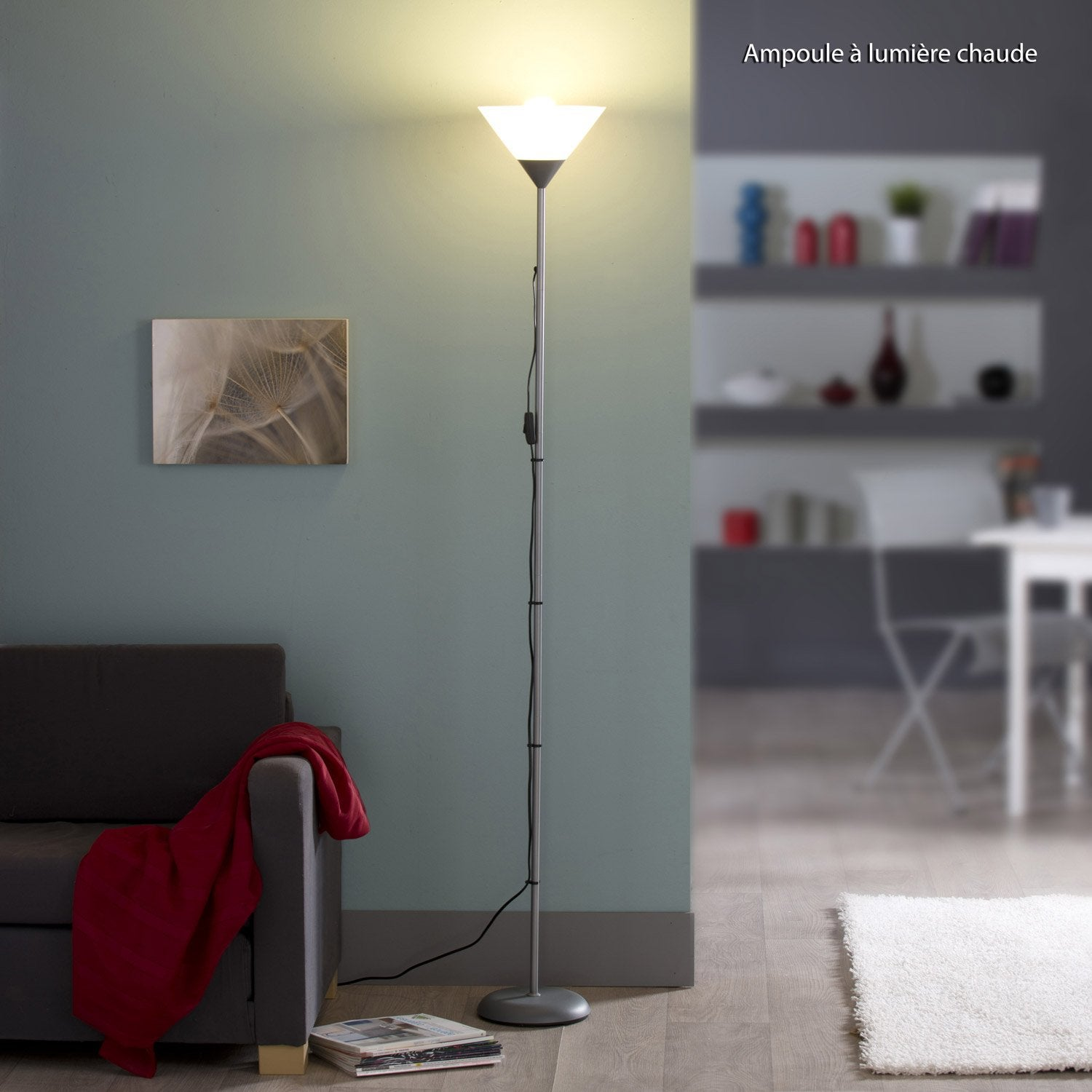 lampadaire basic 177 cm blanc 60 w leroy merlin. Black Bedroom Furniture Sets. Home Design Ideas