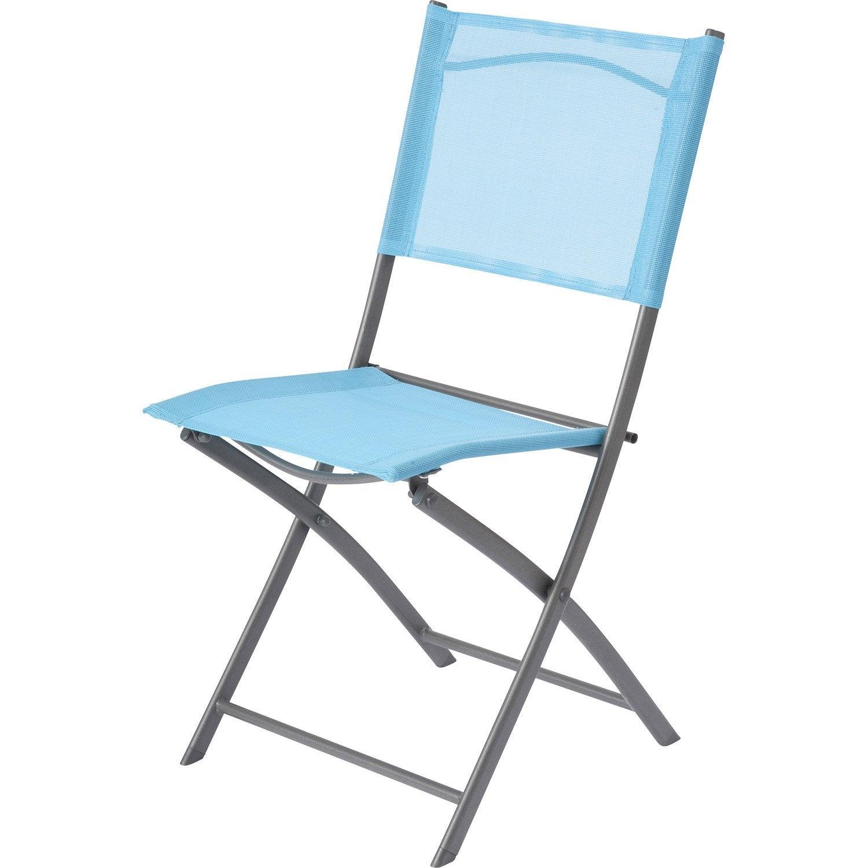 Chaise de jardin en acier denver bleu leroy merlin for Chaise balancoire jardin