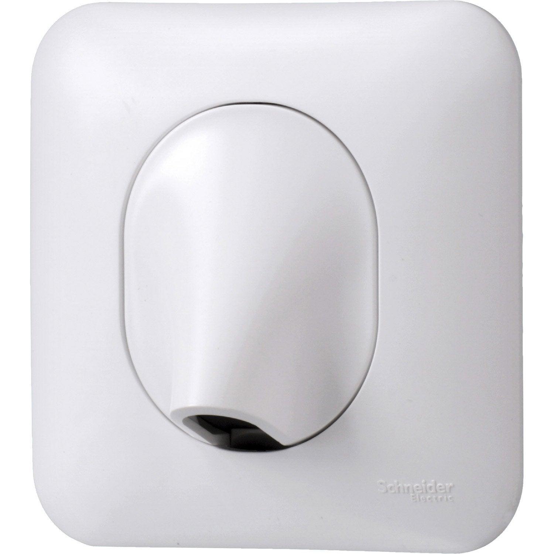 interesting sortie de cble ovalis blanc schneider electric. Black Bedroom Furniture Sets. Home Design Ideas