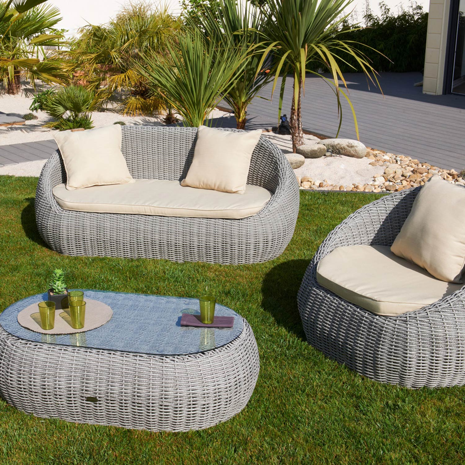 Salon de jardin en r sine isa gris leroy merlin for Salon 3m de large