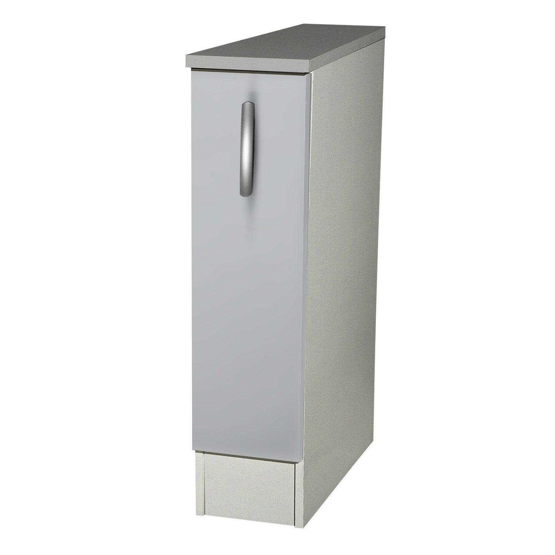 meuble de cuisine bas 1 porte gris aluminium h86 x l15 x p60 cm leroy merlin. Black Bedroom Furniture Sets. Home Design Ideas