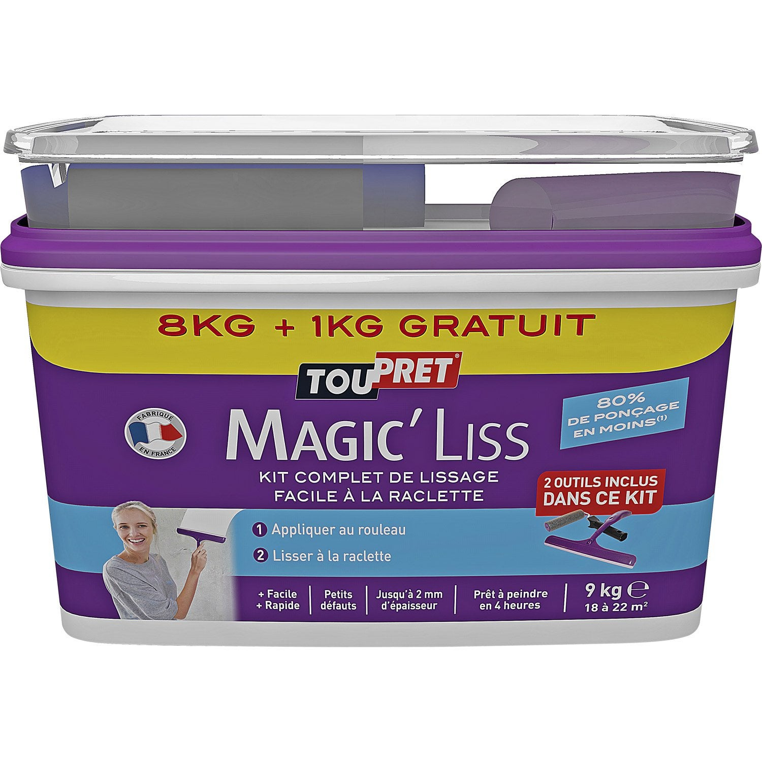 Enduit de lissage p te magic liss blanc toupret 8 kg for Video enduit de lissage