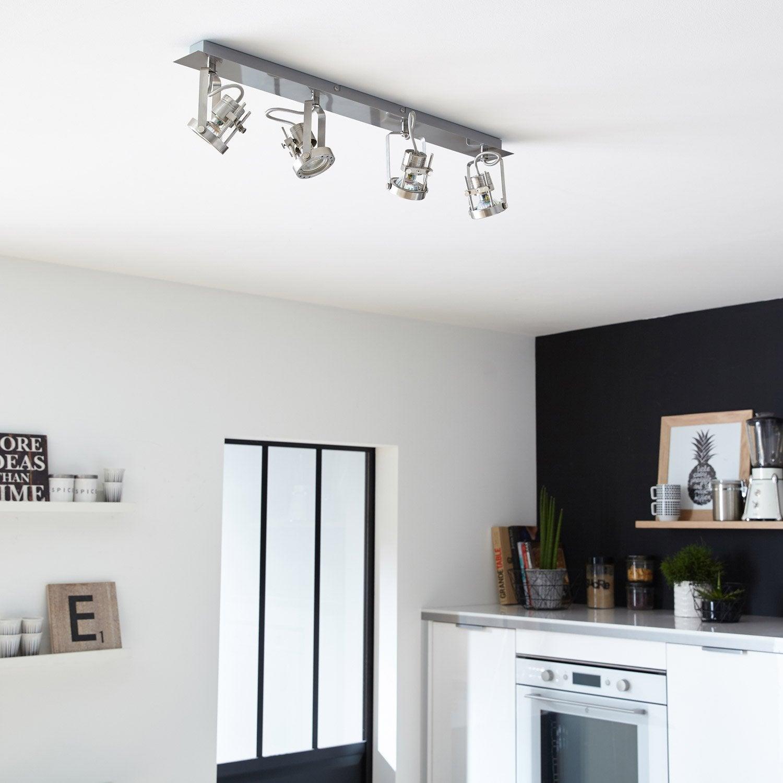 Rampe 4 spots sans ampoule 4 x gu10 acier technic - Rampe electrique pour cuisine ...
