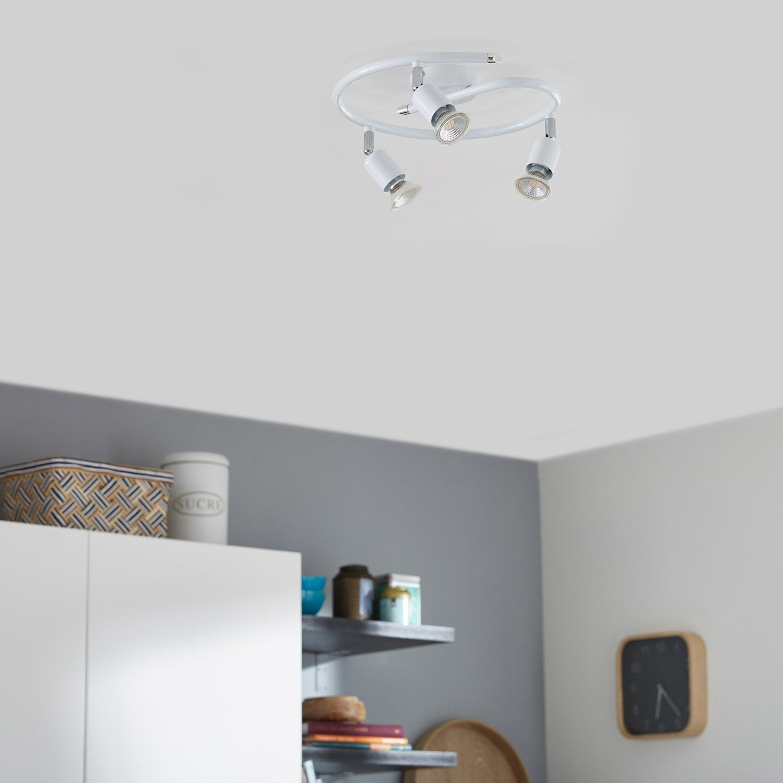 plafonnier 3 spots basic 3 xgu10 blanc leroy merlin. Black Bedroom Furniture Sets. Home Design Ideas