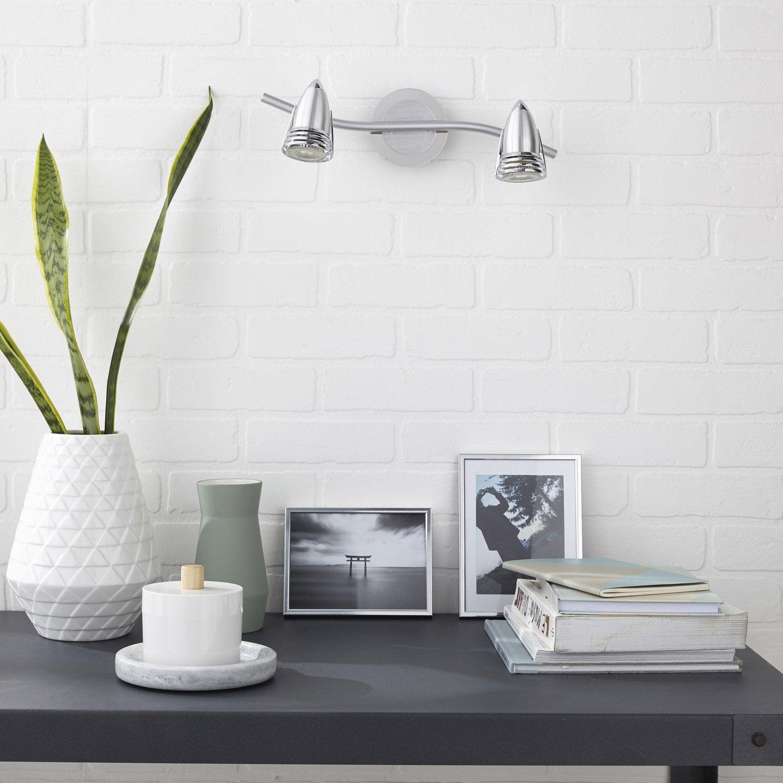 rampe 2 spots sans ampoule 2 x gu10 acier worm inspire leroy merlin. Black Bedroom Furniture Sets. Home Design Ideas