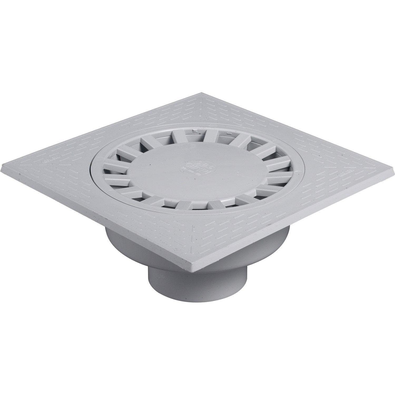 Siphon de cour en pvc girpi gris x cm leroy for Syphon de sol exterieur