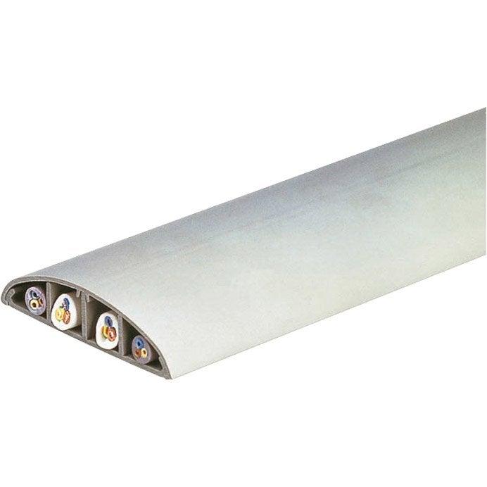 Passage de plancher blanc h 1 7 x p 7 5 cm leroy merlin for Protege cable sol