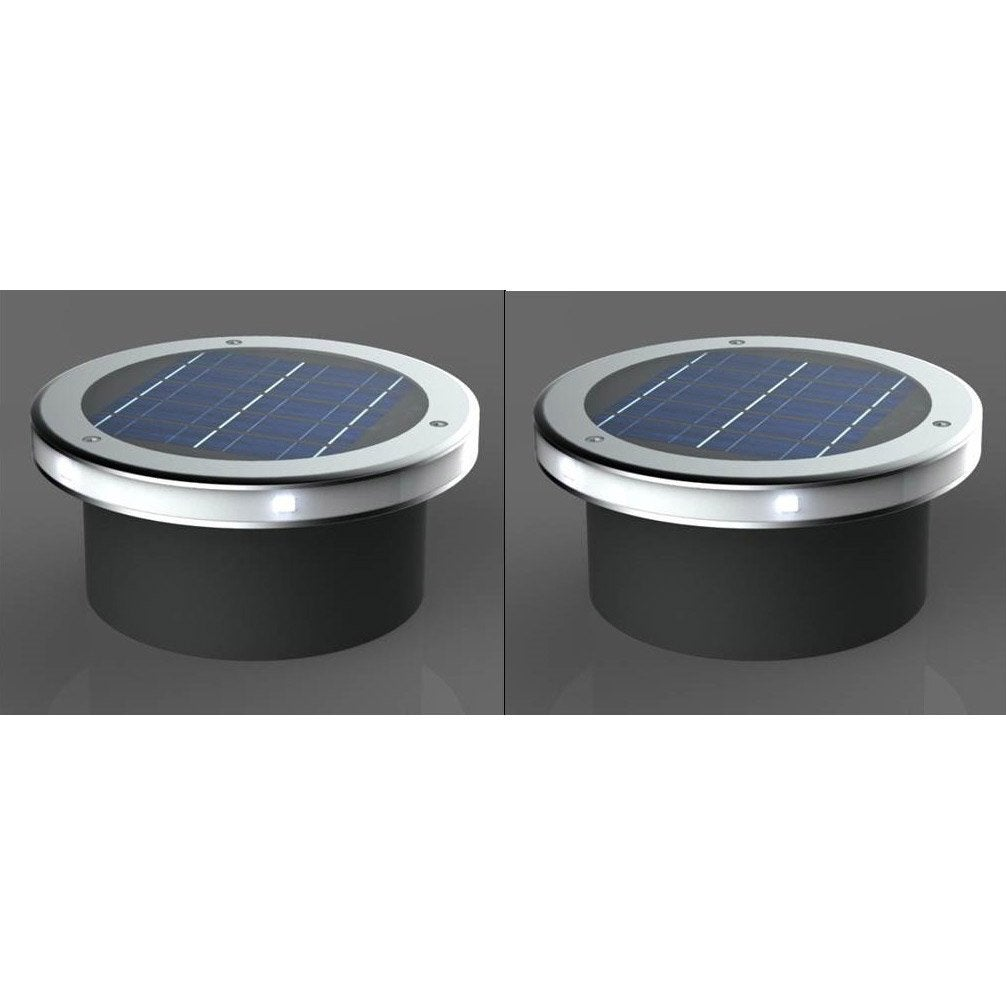 Lot de 2 spots encastrer solaire so544 2 30 lm gris for Led solaire encastrable exterieur