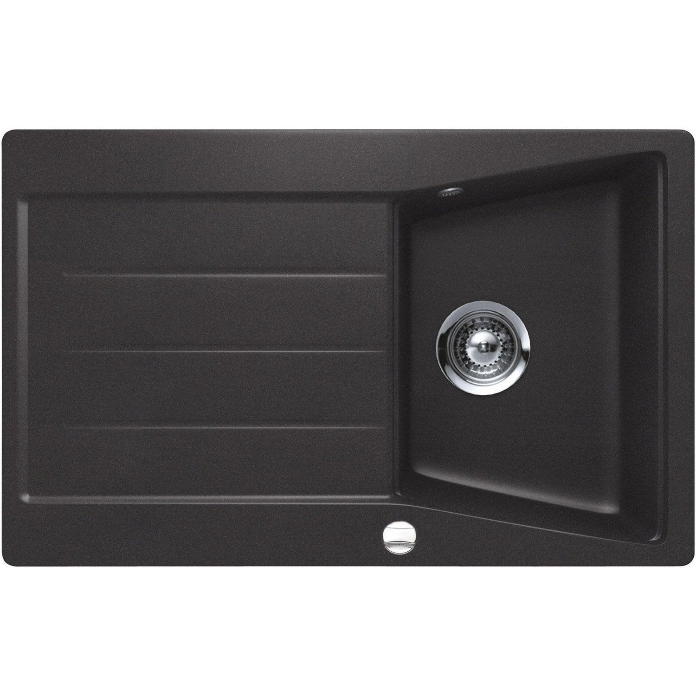 evier encastrer granit et r sine noir mensa 1 bac avec gouttoir leroy merlin. Black Bedroom Furniture Sets. Home Design Ideas