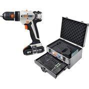 Perceuse sans fil DEXTER POWER 18V 2 bat lit 2Ah + coffret 158 accessoires