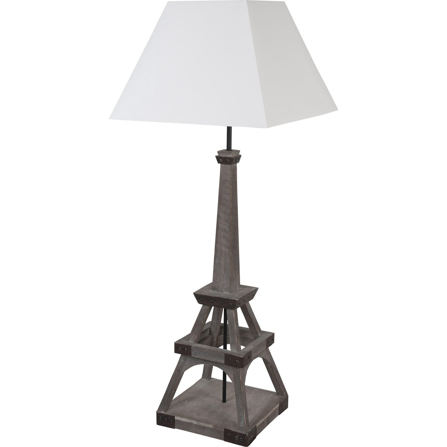 lampe tour eiffel corep coton sur pvc blanc 100 w. Black Bedroom Furniture Sets. Home Design Ideas