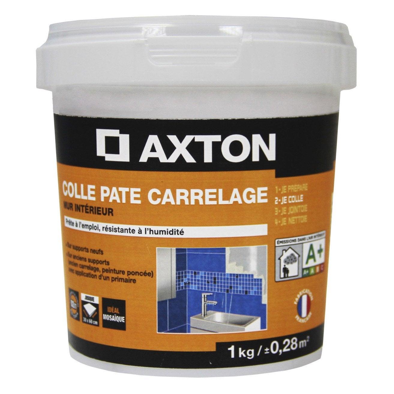 Colle en p te pour carrelage et mosa que axton blanc 1kg for Colle carrelage exterieur leroy merlin