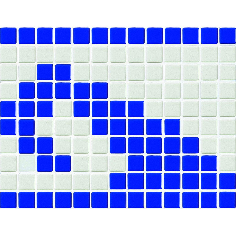 Frise matisse bleu et blanc x cm leroy merlin for Frise carrelage piscine