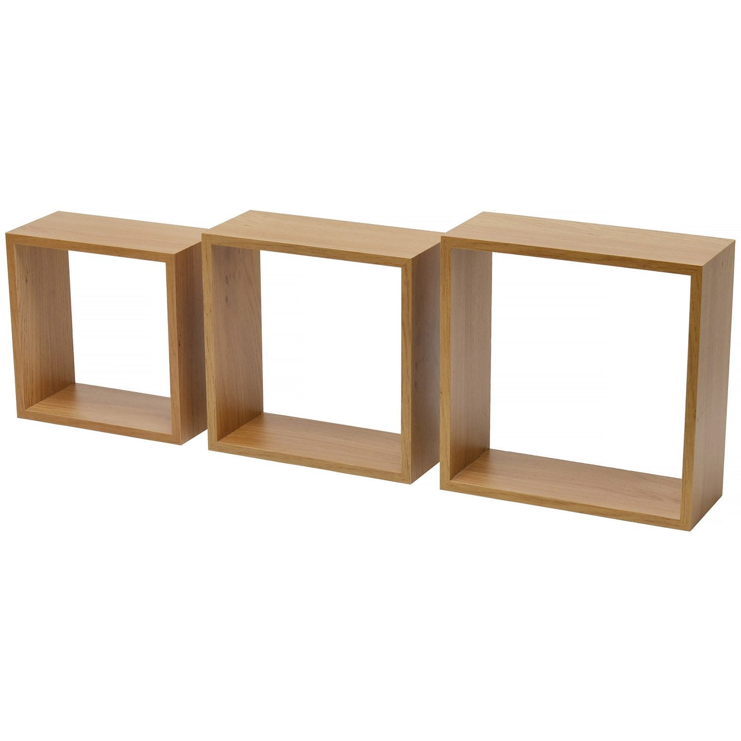 Etag re 3 cubes imitation ch ne naturel 12mm 27x27x10cm mm leroy merlin - Hout prieel leroy merlin ...
