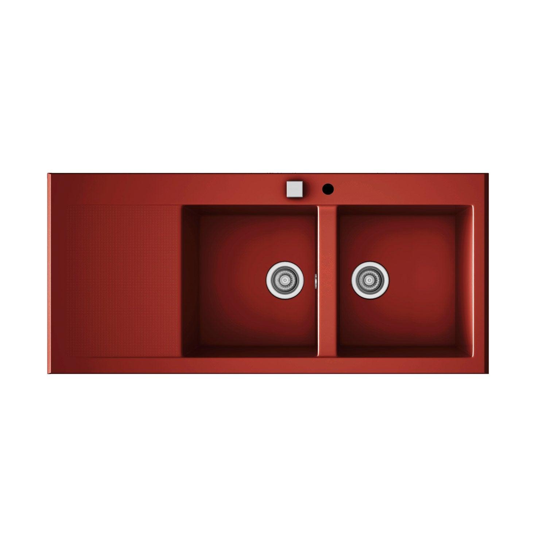 evier encastrer quartz et r sine bordeaux 2 bacs avec gouttoir leroy merlin. Black Bedroom Furniture Sets. Home Design Ideas