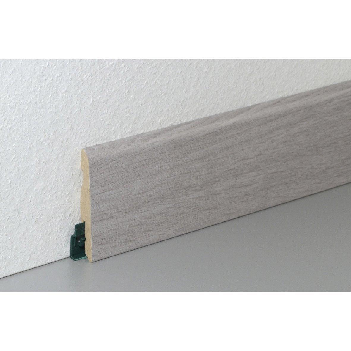 plinthe pour sol stratifi d cor ch ne gris 220 cm x 78 mm x 14 mm leroy merlin. Black Bedroom Furniture Sets. Home Design Ideas