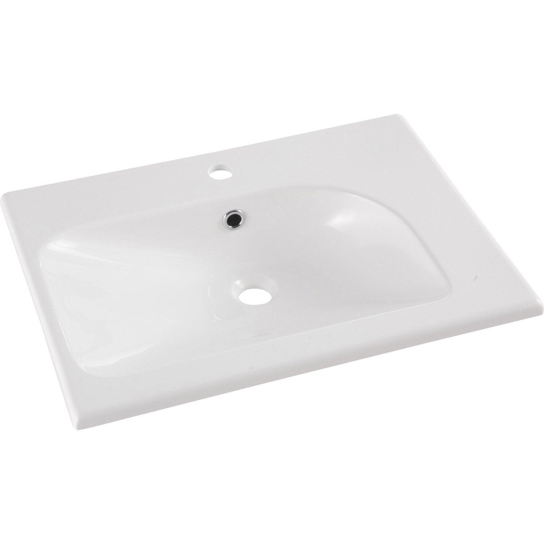 Plan simple vasque opale r sine de synth se blanc l61xl12 for Leroy merlin plan vasque