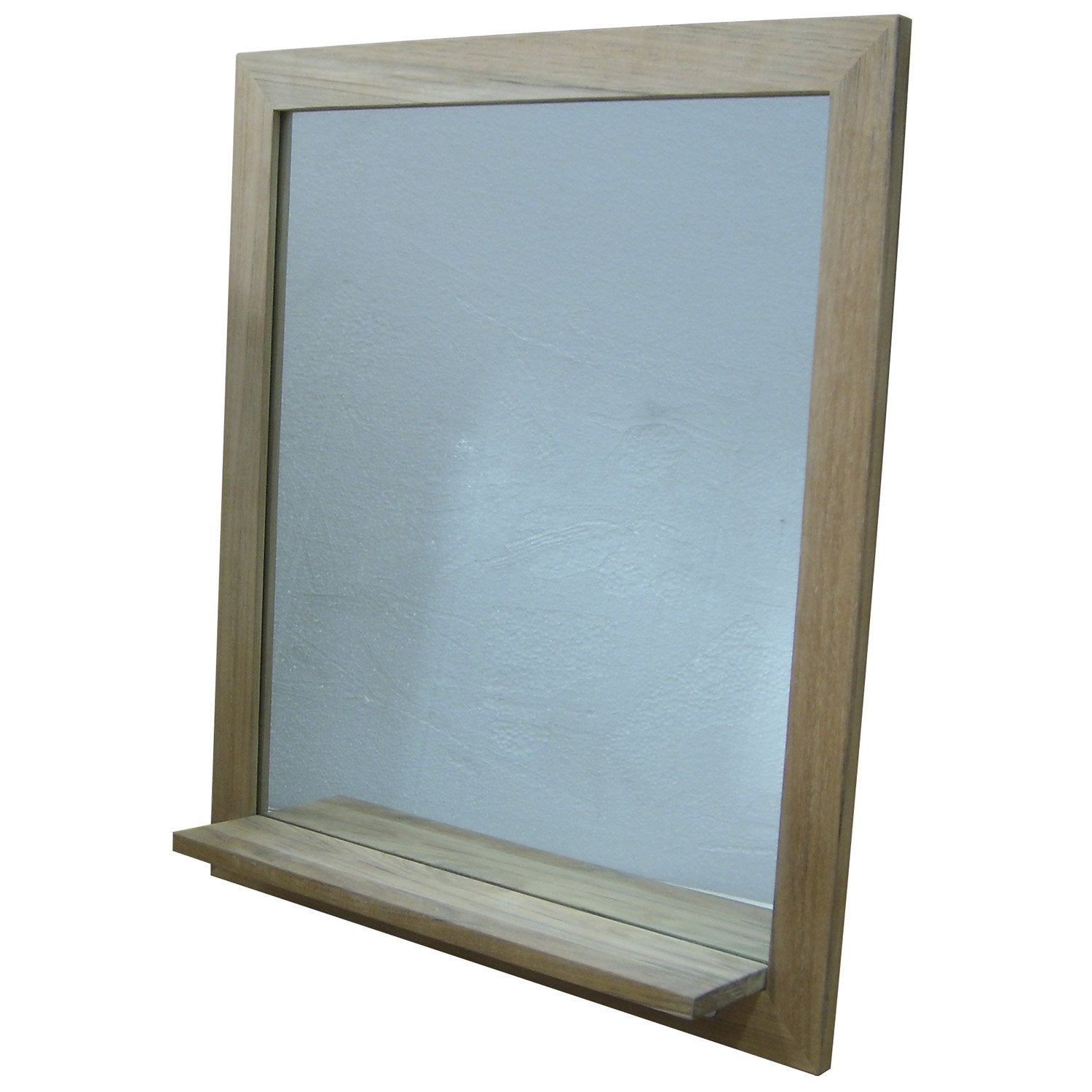 Miroir en teck naturel avec tablette wellington for Miroir tablette