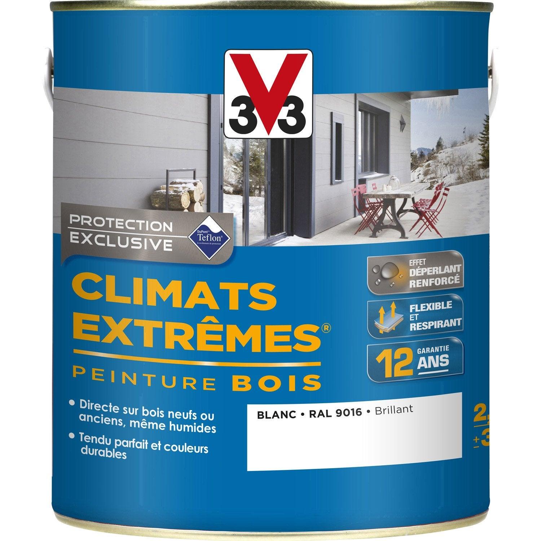 Peinture bois ext rieur climats extr mes v33 blanc 2 5 l for Peinture bois exterieur couleur