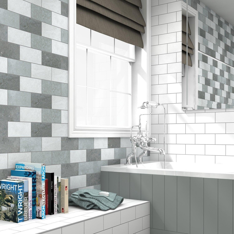 fa ence mur gris clair astuce x cm leroy merlin. Black Bedroom Furniture Sets. Home Design Ideas